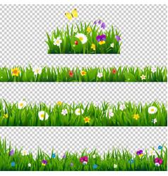 big set flowers borders vector image