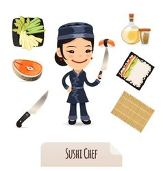 Female sushi chef icons set vector
