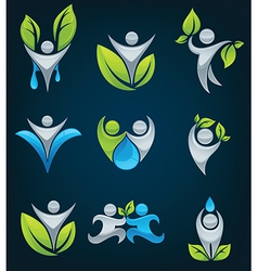 Large eco people collection vector
