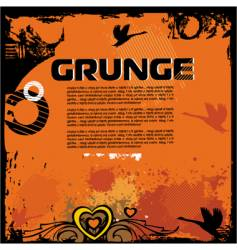 grunge background with birds vector image