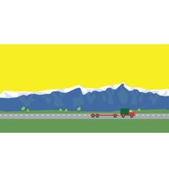 Red car on the way on background of mountains vector image