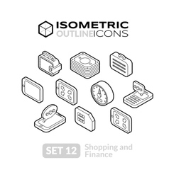 Isometric outline icons set 12 vector