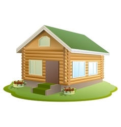 Modern wooden house log house new home with vector