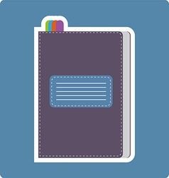 A dark purple writing notebook card vector