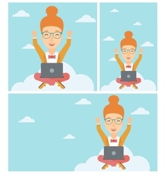 Woman on cloud with laptop vector