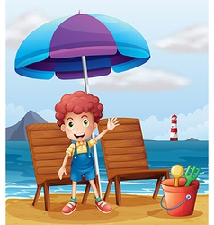 A young boy standing at the beach vector image