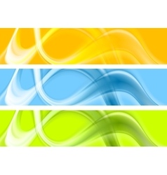 Abstract colorful wavy banners design vector image vector image