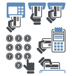 Atm keypad and pos-terminal - credit card payment vector
