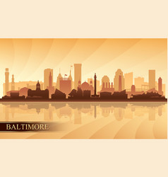 baltimore city skyline silhouette background vector image vector image