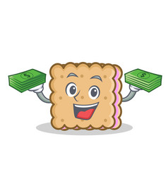 Biscuit cartoon character style with money vector