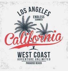 california los angeles typography t-shirt vector image