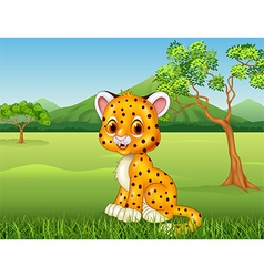 Cartoon funny baby cheetah in the jungle vector image