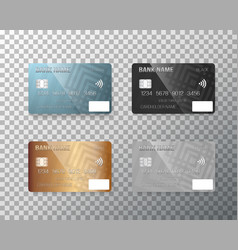 Credit card set realistic bank cards isolated on vector