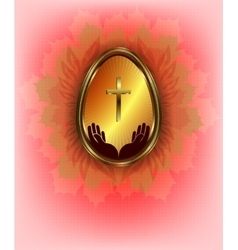 design with the Golden Easter egg vector image vector image