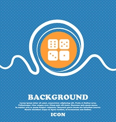 Dices icon sign Blue and white abstract background vector image