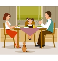 Family dinner flat style vector image