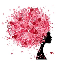 Female head with hairstyle made from tiny hearts vector image vector image