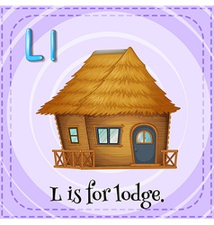 Flashcard of l is for lodge vector