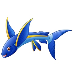 Flying fish cartoon character vector