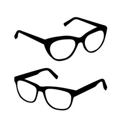 glasses silhouette set vector image