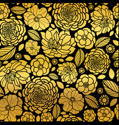 gold and black mosaic flowers seamless vector image