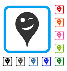 Joke smiley map marker framed icon vector