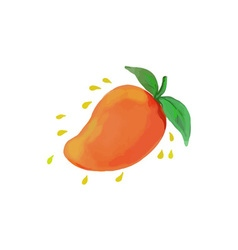 Juicy mango fruit watercolor vector