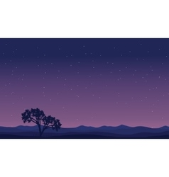 Landscape trees at night silhouettes vector