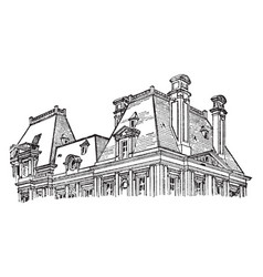 Mansard roof dormer windows vintage engraving vector