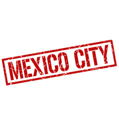 Mexico city red square stamp vector