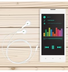 Mobile audio app mobile on a wooden table vector image