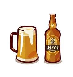 Mug of craft beer with foam bottle ale or lager vector