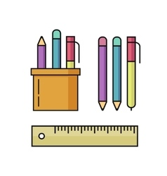 Pen and pencils ruler set vector
