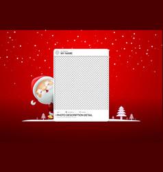 Photo frame social merry christmas with santa vector