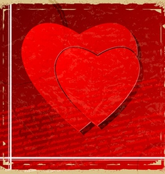 Red heart on vintage background vector image vector image