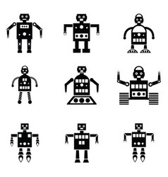 Robot icons set vector