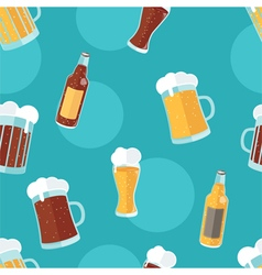 Seamless pattern with flat icons of beer vector image vector image