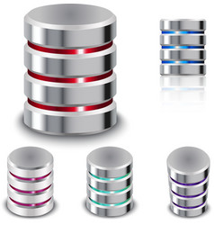 Set Database and Hard Disk Icon vector image vector image