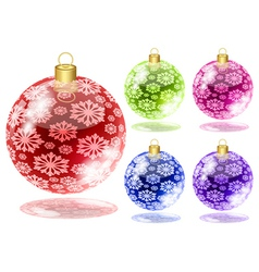 Set of christmas balls with snow isolated on white vector image
