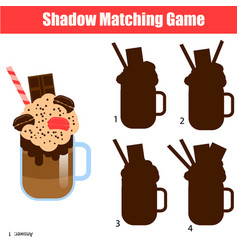 Shadow matching game kids activity with milk vector