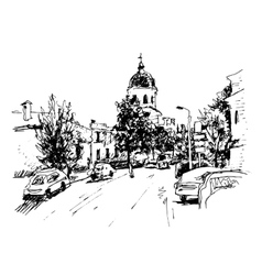 Sketch of kiev historical building ukraine vector
