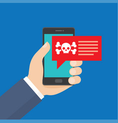 smartphone in danger red alert vector image
