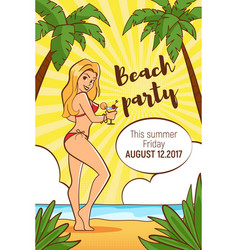 template for beach party flyer vector image