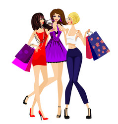 three girls shopping vector image