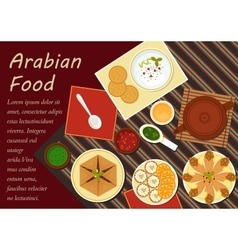 Traditional arabian cuisine menu elements vector image vector image
