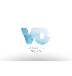 Vc v c blue polygonal alphabet letter logo icon vector
