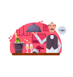 Waiter with dish near table vector