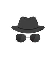 Secret agent icon in a hat vector
