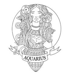 Aquarius zodiac sign coloring book vector image