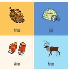 Canadian national symbols icons set vector